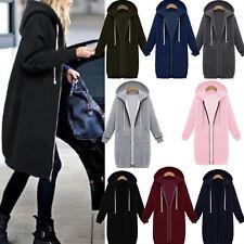 AU Winter Womens Zipper Hoodies Hooded Ladies Coat Jacket Tops Outwear Plus Size