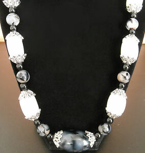 Black Onyx & DragonVeins Agates White Jade Silver Bead Caps HandCrafted Necklace