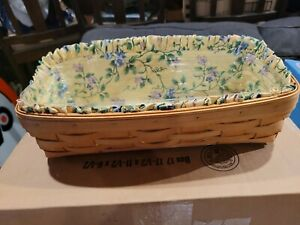 """Longaberger 1999 Bread Basket with Floral Cloth Liner & Protector 13"""" x 4.5"""""""