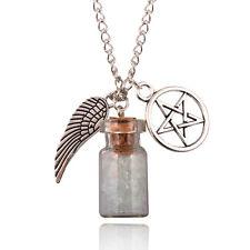 Supernatural Power Protection Necklace Angel Wing Pentagram Salt Bottle Pendant