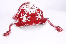 Rouge Foncé & Blanc Années 90 de flocons de neige Imprimer Mailles Fines ouschanka épais Pompons Chapeau S118