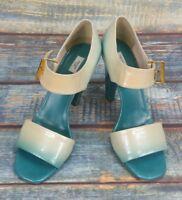 """Ladies Prada Vero Cuoio Shoes Grean Cream Fade 4"""" Heal EU 38 UK 5"""