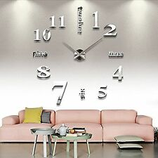 Extra Large Wall Clock Home Office Interior Decor Mirrored Silver 3D Timer Gift
