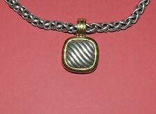 DAVID YURMAN STERLING SILVER AND 18 K GOLD CUSHION ENHANCER NECKLACE