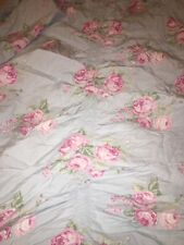 Simply Shabby Chic Ruched Blue Cabbage Rose Duvet Cover Full Queen Cottage
