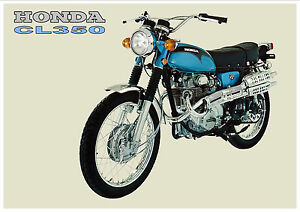 HONDA Poster Classic CL350 1970's Suitable to Frame