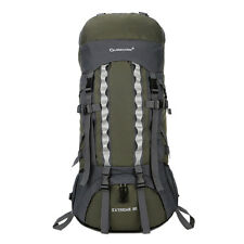 80L Outdoor Sport Travel Hiking Camping Backpack Big Rucksack Bag Army Green New