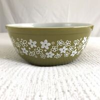 Pyrex Olive Green 2.6L Mixing Bowl White Floral Spring Blossom Crazy Daisy Band