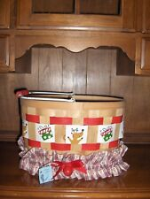 "Christmas Basket ""Reindeer/Present"" Gift Basket W/Two Changeable Homemade Bands"