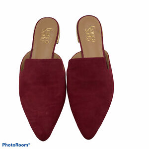 Franco Sarto Russo Suede Leather Slides Mules Open Back Shoes Women's Size 9
