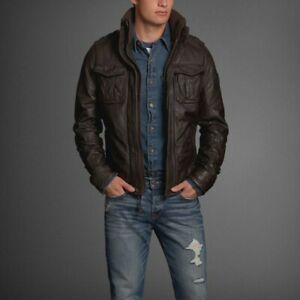 NEW abercrombie and fitch leather jacket Sz L Large Out Of Stock Everywhere
