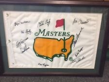 Rare Masters flag signed by Hogan, Nelson, Palmer, Snead, Casper, Crenshaw + 4