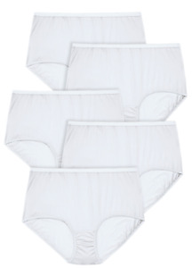 Comfort Choice Womens White 5 Pack Pure Cotton Full-Cut Brief PLUS SIZE 16 9x