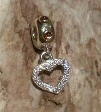 Genuine Pandora Silver + 14k gold + RHODOLITE 'BE MY VALENTINE' HEART 790590RHL