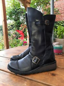 FLY London ladies black real leather mid calf boots size 4 / 37 new