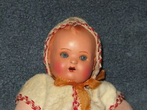 Vtg Antique Composition Baby Mama Doll Crier Blue Glass Eyes Hard Body Works