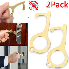 2PCS Hand Hygiene Brass Door Opener Elevator Handle Antimicrobial EDC Tool