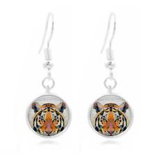 Geometric Tiger Tibet Silver Dome Photo 16MM Glass Cabochon Long Earrings #494