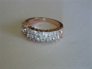 SALE! Rose Gold Filled Brilliant and Baguette Simulated Diamond Band Ring Size 9