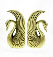 "2pc Set Vintage Art Deco Brass Swan Bookends 6"" Book Ends"