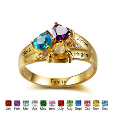 Customized Gold Silver Family Mother's Birthstone Name Ring Thanksgiving Gifts