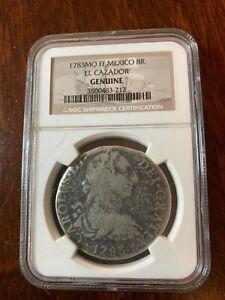 1783 MO FF Mexico El Cazador 8R Shipwreck Coin Pillar Dollar Silver NGC