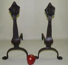 ARTS & CRAFTS MISSION HAND FORGED IRON ANDIRONS LIONS