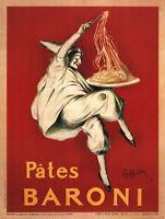 Pates Baroni by Leonetto Cappiello Art Print Italian Pasta Chef Poster 54x36