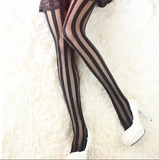 Womens Sexy Vertical Striped Hosiery Stockings Top Waist Pantyhose Tights 6-10