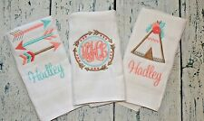 Personalized Burp Cloth set of 3  Monogram Burp Cloths  Tribal Arrow Teepee Girl