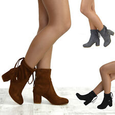 Womens Chelsea Boots Low Heel Stretch Calf Ladies Lace Up Pull On Ankle Booties