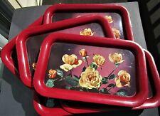 Metal Lap trays - Vintage - Qty 9 -Yellow Roses - 14 1/4 x 8 3/4