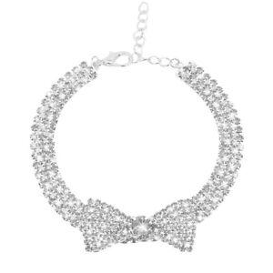 Rhinestone Dog Collar Pet Puppy Cat Crystal Collar Girl Jeweled Bow Tie Necklace
