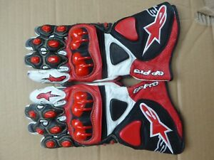 Alpinestars GP PRO RED/WHITE  Gloves, Size M FREEPOST UK