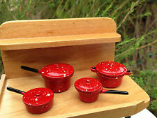 Miniature Dollhouse FAIRY GARDEN Accessories ~ Red Spatterware Pots & Pans ~ NEW