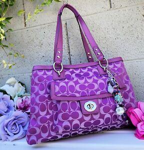 New Vintage COACH F19043 Plum purple PENELOPE SIGNATURE CARRYALL TOTE purse bag