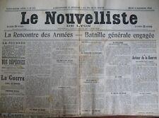 WW1 BATAILLE GENERALE LETTRE DE SOLDAT LE NOUVELLISTE DE LYON 8/9/1914