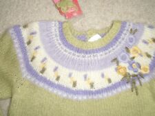 GIRLS SIZE 4T - GYMBOREE LONG SLEEVE WOOL SWEATER - GREEN WITH PURPLE FLOWERS-NW