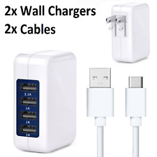 2x 4 Port USB Wall Charger 15W 3.1A Adapter + Cable for Samsung Galaxy S9 S8