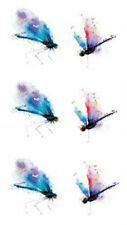 Waterproof Temporary Fake Tattoo Stickers Watercolor Blue Red Dragonfly