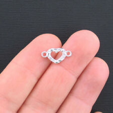 BULK 50 Tiny Heart Connector Charms Shiny Silver Tone 2 Sided - SC683