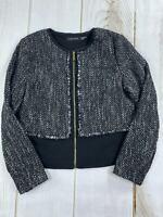 Ivanka Trump Womens Long Sleeve Crew Neck Zip Up Black Sweater Jacket Size 12