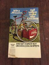 Vintage Original Coca Cola Win a Schwinn Bicycle Advertising Sign RARE CARDBOARD