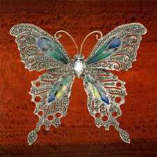 Sterling Silver & Marcasite Butterfly Brooch with Multi Color Enamel Wings