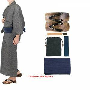 Japanese Men's Kimono Yukata Cotton Linen 6 Items Set G-2 GY x NV Japan Tracking