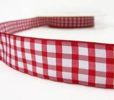 "5 Yds Red White Gingham Check Plaid Ribbon 1""W"