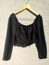 8a740fcba2b50e Urban Outfitters Sz M Black Smocked Long Sleeve Crop Top Rayon Blouse
