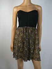 $128 Free People Black Ponte Chiffon Tube Top Sheer Skirt Dress M 8 10 NWT F457