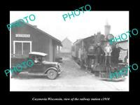 OLD LARGE HISTORIC PHOTO CAZENOVIA WISCONSIN THE RAILWAY STATION c1910