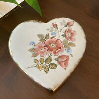 Vintage Floral Heart Painted Jewelery Trinket Box Jar Vanity Dish